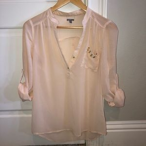 Charlotte Russe Gold Studded Cuffed Sleeve Blouse